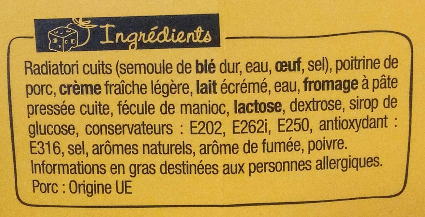 XtremBox - Radiatori Carbonara - Ingredients
