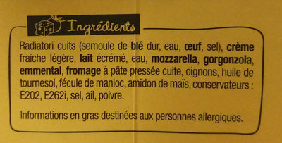 XtremBox - Radiatori 4 fromages - Ingredients