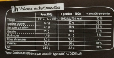 XtremBox - Radiatori 4 fromages - Nutrition facts