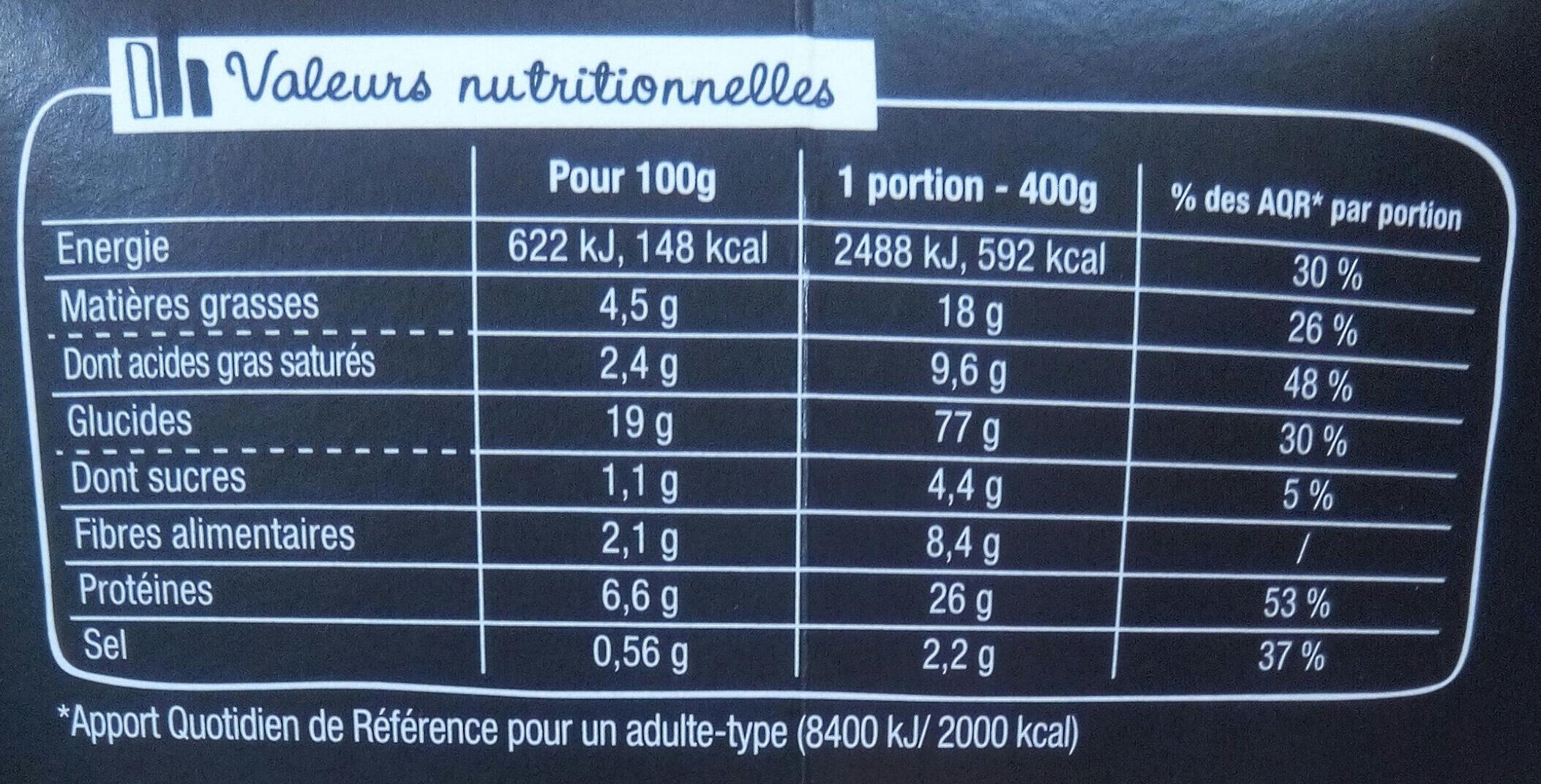 XtremBox - Radiatori  Bœuf Sauce au poivre - Informations nutritionnelles