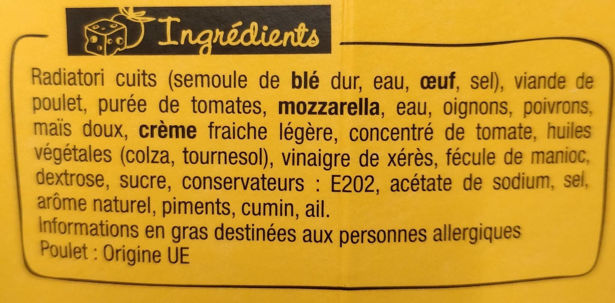 xtrembox radiatori poulet tex mex - Ingrédients - fr