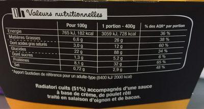 XtremBox - Poulet Bacon Creamy Oignon - Informations nutritionnelles - fr