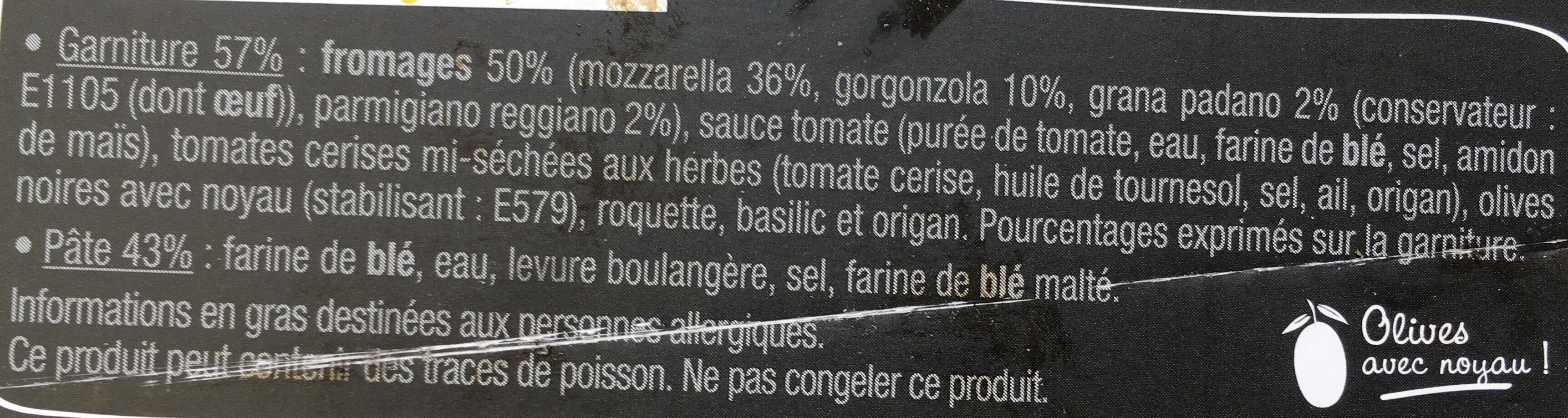 Pizza 4 fromaggi - Ingredients