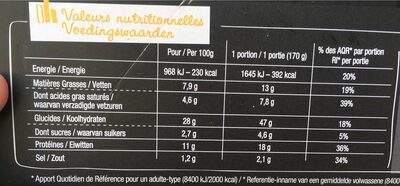 Pizza 4 fromaggi - Nutrition facts