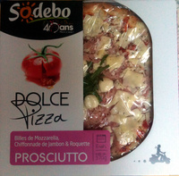 Pizza Chiffonade de jambon, billes de Mozzarella & Roquette Prosciutto Sodebo - Produit