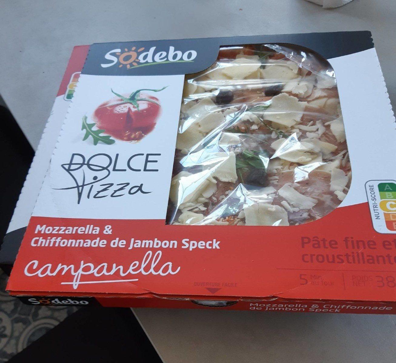 Doive pizza mozzarella et chiffonnnade de jambon speck - Produit