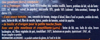 Pizza Giant 4 fromages - Ingrédients - fr