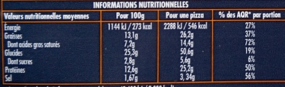Pizza Giant 4 fromages - Informations nutritionnelles - fr