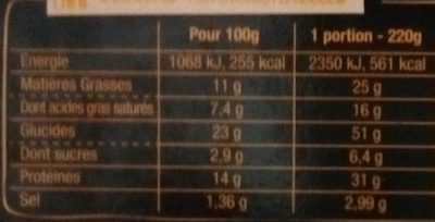 Sodebo La pizza style 3 fromages - Informations nutritionnelles - fr