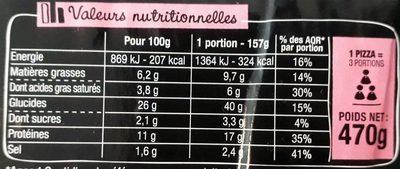 La Pizz - Jambon Emmental - Informations nutritionnelles
