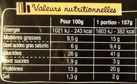 La Pizz 4 Fromages - Informations nutritionnelles - fr