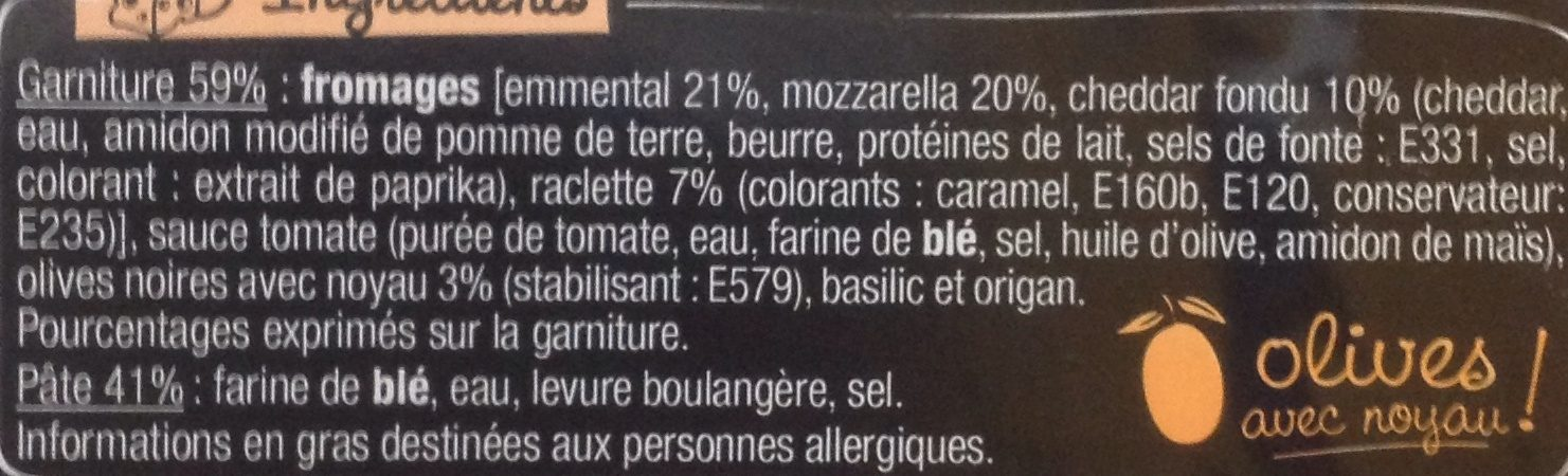 Pizza 4 fromages - Ingredients