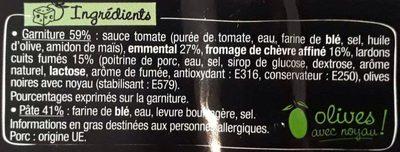 La Pizz - Chèvre affiné Lardons - Ingrediënten