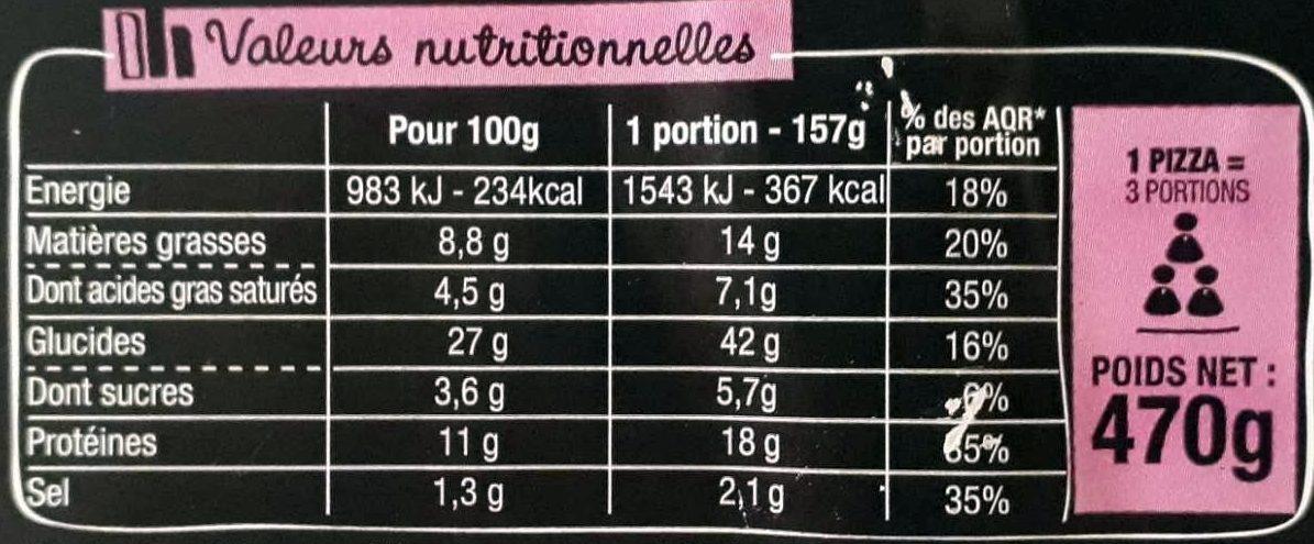 La Pizz - Lardons Emmental Comté - Nutrition facts
