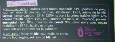 La pizza gourmande Lardons Emmental Comté - Ingredients