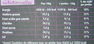 La pizza gourmande Lardons Emmental Comté - Nutrition facts