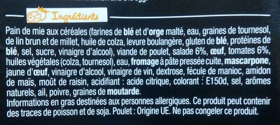 Sandwich Le Gourmand  Club - Poulet Caesar - Ingrediënten