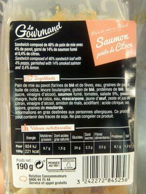 Sandwich Le Gourmand Club - Saumon fumé Pointe de citron - 11