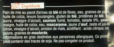 Sandwich Le Gourmand Club - Saumon fumé Pointe de citron - Ingrédients - fr