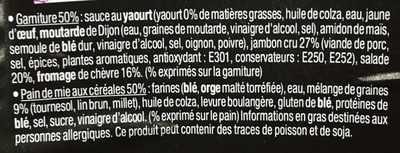 Sandwich Le Gourmand Club - Jambon cru Chèvre - Ingredients