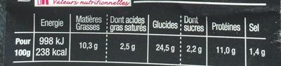 Le Sandwich du Chef Jambon Cheddar - Informations nutritionnelles - fr