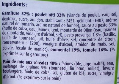 Poulet rôti Emmental Tomate sauce Pesto - Ingrédients - fr
