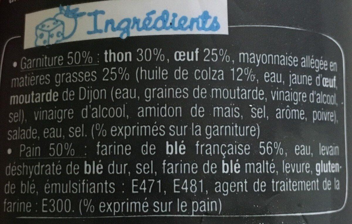 Sandwich Le Classic  - Thon Oeuf Mayo légère - Ingrédients - fr