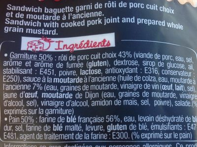 Sandwich Le Classic - Rôti de porc Moutarde à l'ancienne - Ingrédients - fr