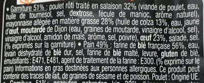 Sandwich Le Grand Classic - Poulet rôti Mayo légère Oeuf - Ingredients