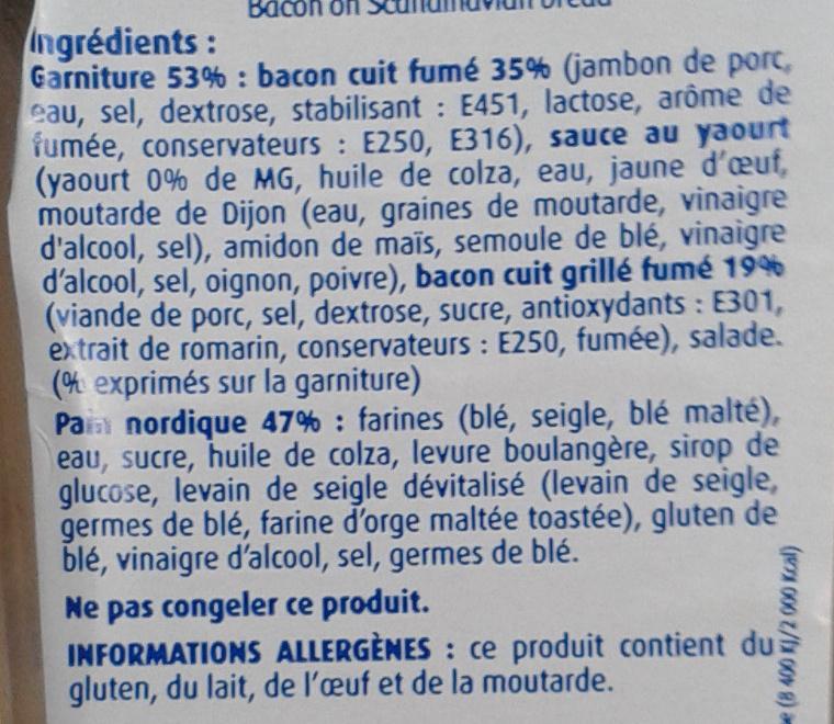J'ai envie d'un Suédois - Bacon grillé Cheddar - Ingredients