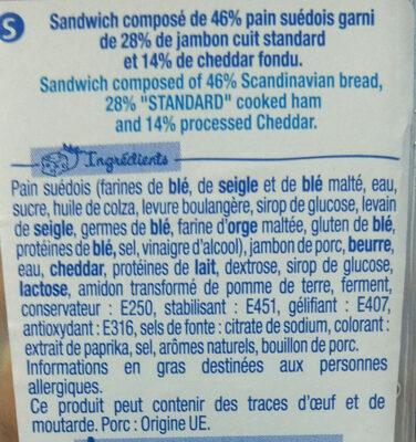 J'ai envie d'un Suédois - Jambon Cheddar fondu - Ingrédients