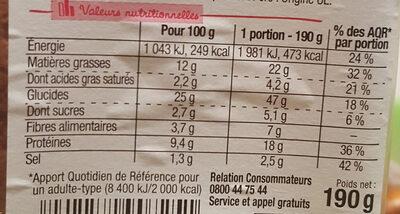 Sandwich Maxi Simple & Bon ! - Jambon Salade Emmental - Informations nutritionnelles