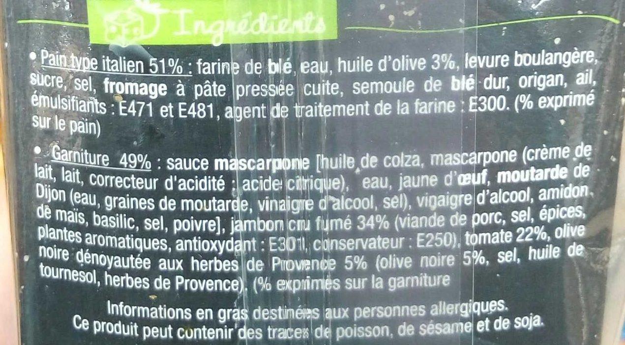 J'ai envie d'un… Italien Jambon Cru Tomate, Olive - Ingredients