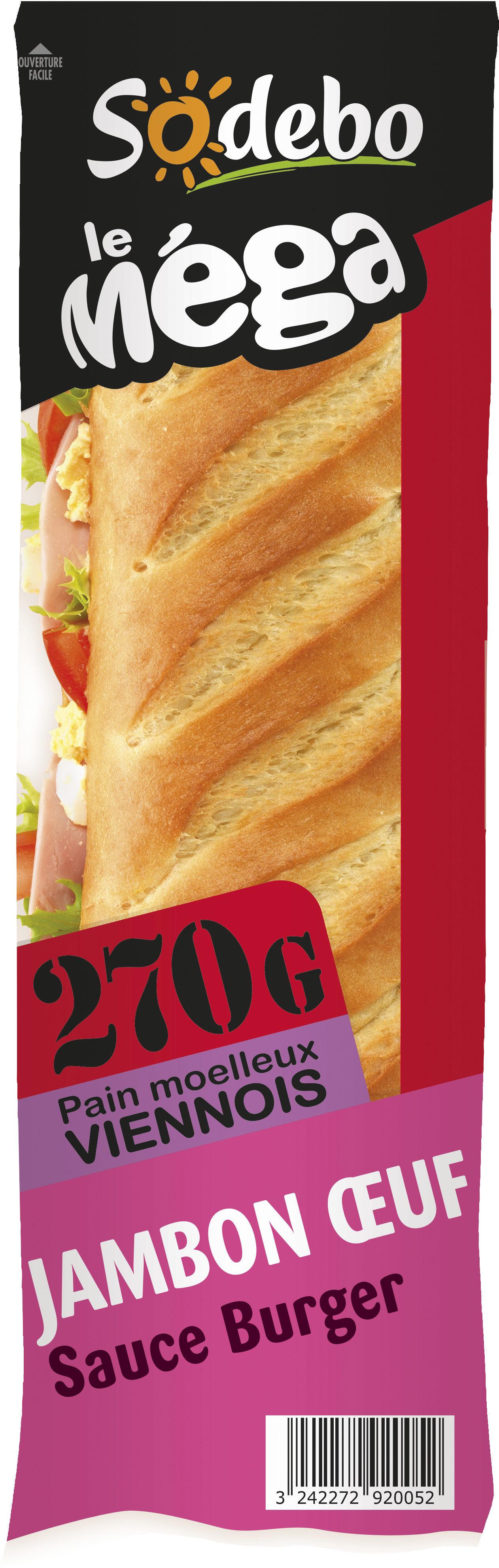 Sandwich Le Méga - Baguette - Jambon  Oeuf  Sauce burger - Produit - fr