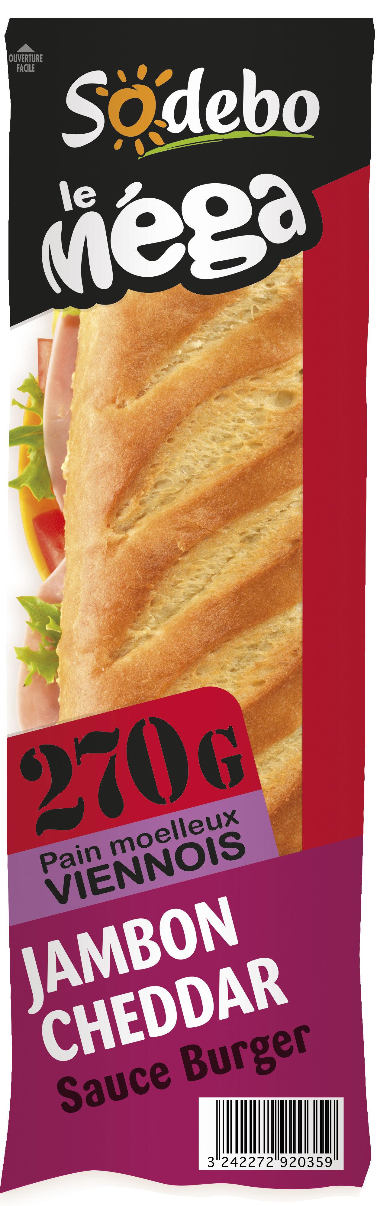 Sandwich Le Méga - Baguette - Jambon Cheddar Sauce burger - Product - fr