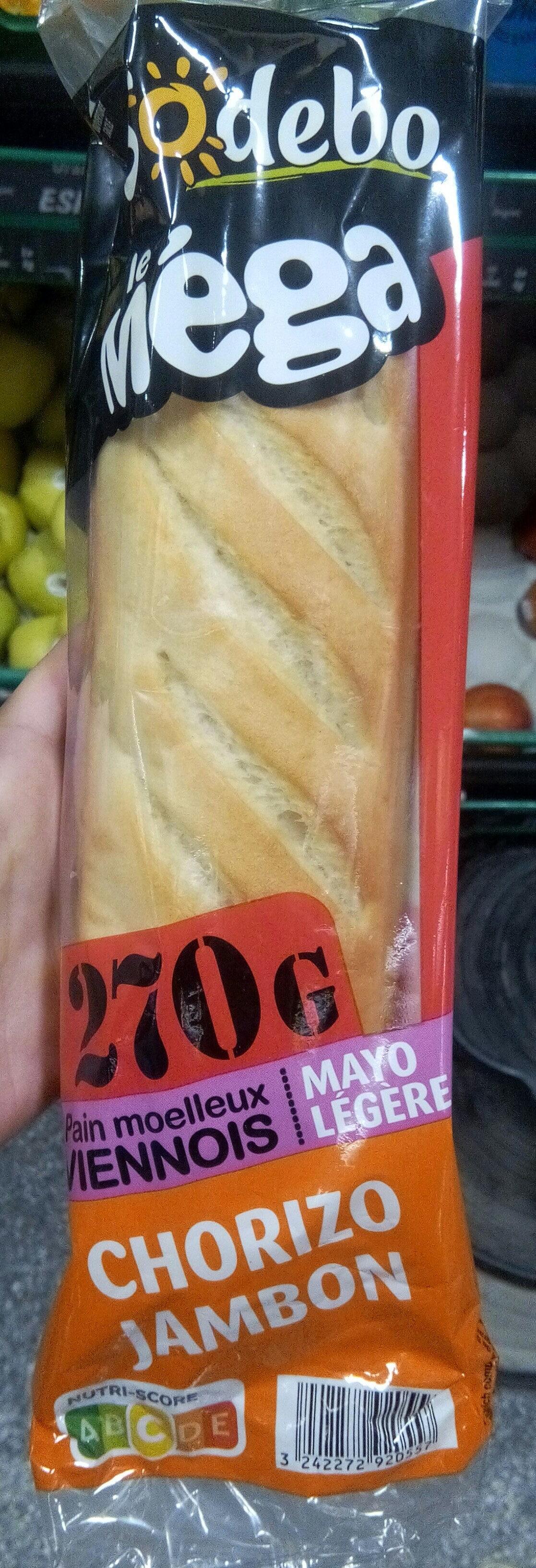Sandwich Le Méga - Baguette - Jambon Chorizo Mayo légère - Product - fr