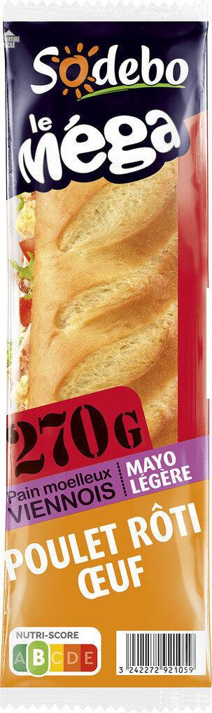 Sandwich Le Méga - Baguette  - Poulet rôti Oeuf  Mayo légère - Product - fr