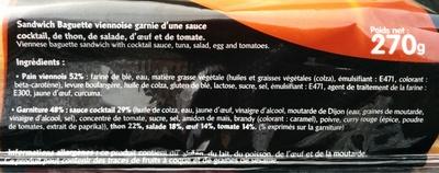 Sandwich Le Méga - Baguette - Thon  Œuf Sauce cocktail - Ingredients