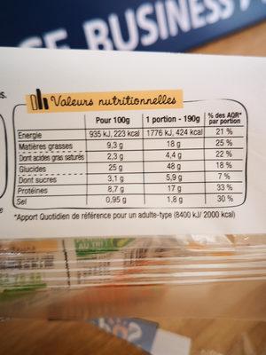 LE FRESH - Poulet rôti et Fromage frais ail et fines herbes - Nutrition facts