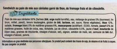 LE FRESH - Thon et fromage frais ciboulette - Ingrédients - fr