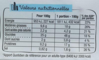 LE FRESH - Thon et fromage frais ciboulette - Informations nutritionnelles - fr