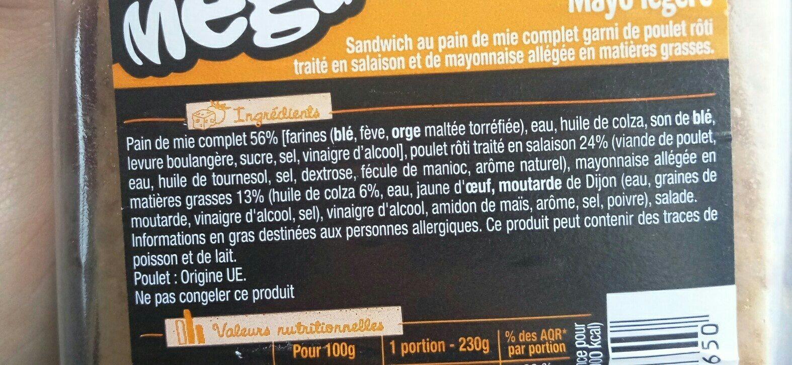 Sandwich poulet roti mayo légère - Ingrediënten - fr