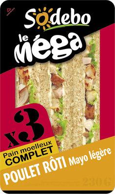 Sandwich Le Méga - Club - Poulet rôti Mayo légère x3 / pain complet - Produit