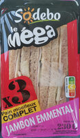Sandwich Le Méga - Club - Jambon Emmental x3 / pain complet - Product