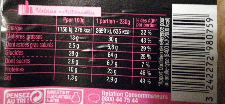 Sandwich Le Méga - Club - Jambon Emmental x3 / pain complet - Nutrition facts