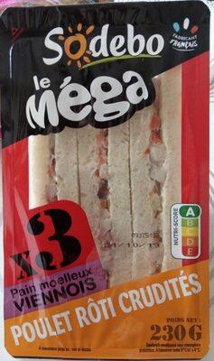 Sandwich Le Méga - Club - Poulet rôti Crudités x3 / pain viennois - Produit - fr