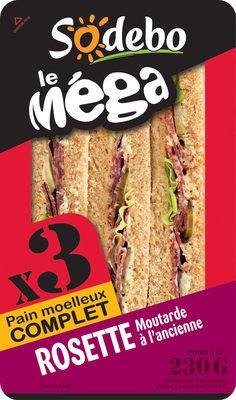 Sandwich Le Méga - Club - Rosette Moutarde à l'ancienne x3 / pain complet - Product