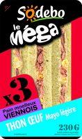 Sandwich Le Méga - Club - Thon Œuf Mayo légère  x3 / pain viennois - Produit - fr
