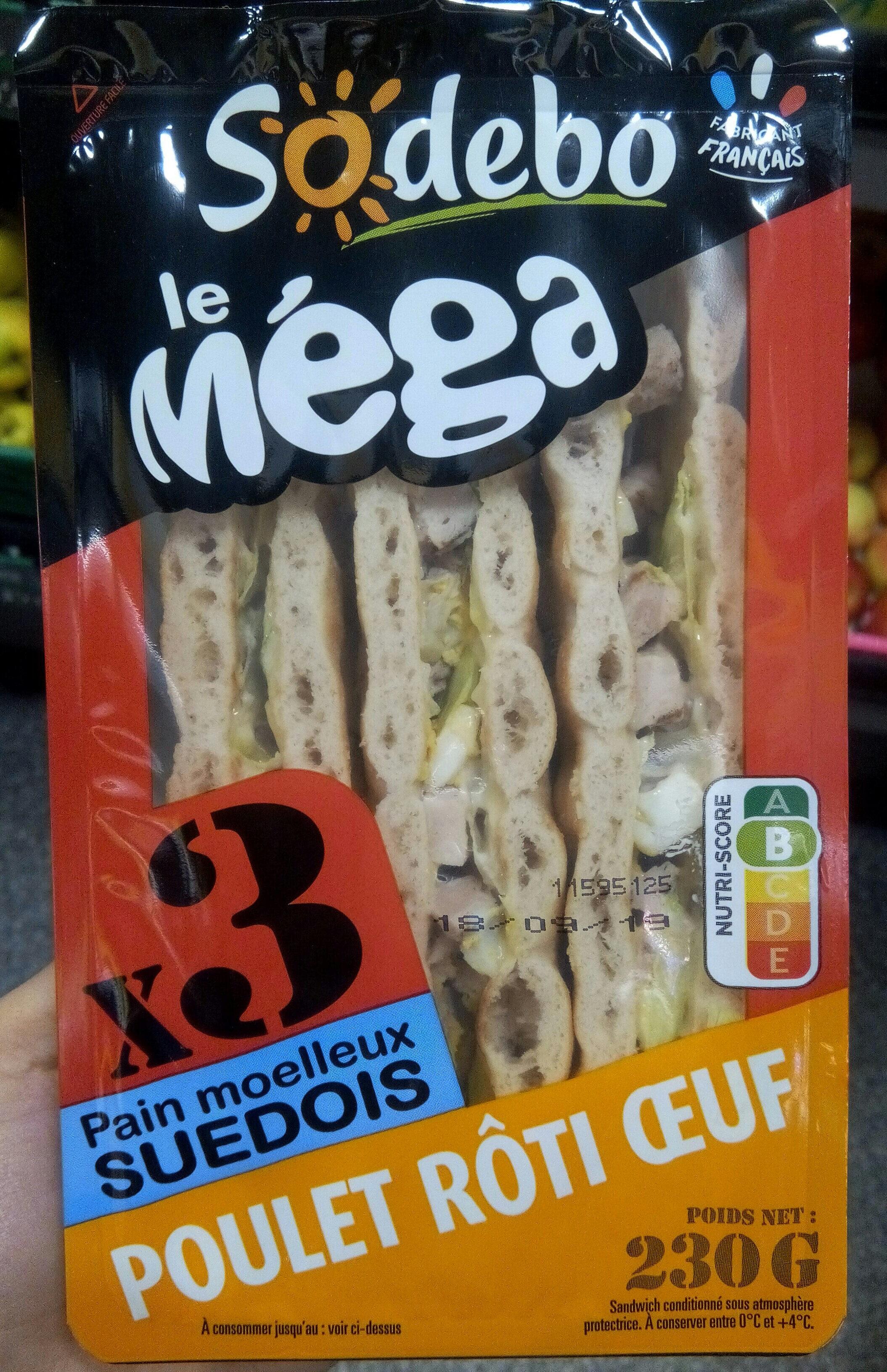 Sandwich Le Méga - Club - Poulet rôti Oeuf x3 / pain suédois - Product