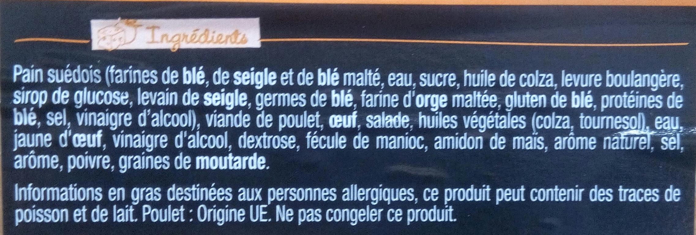 Sandwich Le Méga - Club - Poulet rôti Oeuf x3 / pain suédois - Ingredients